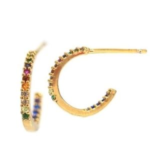 Tai Jewelry Rainbow Small Huggies Hoop Earrings